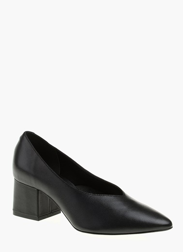 Divarese Kalın Topuklu %100 Deri Ayakkabı Siyah